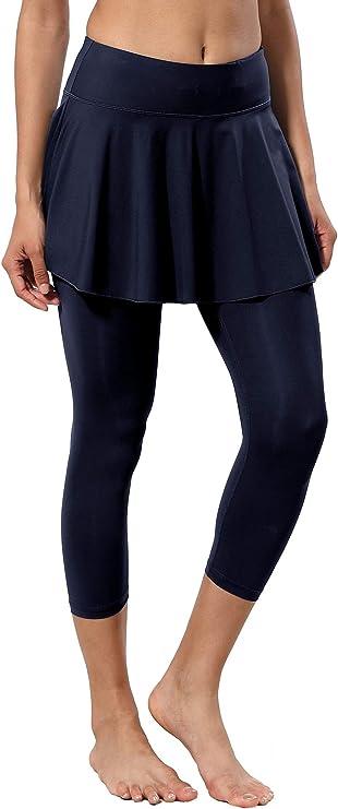 alvon Women Skirted Leggings Workout Leggings with Skirt Athletic Skort with Leggings Hiking