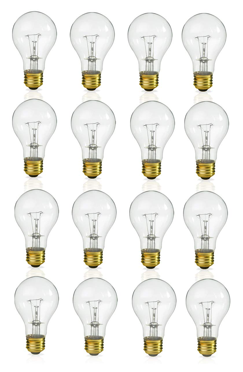(Pack of 16) Incandescent 60 Watt A19 Light Bulb: Clear Standard Household E26 Medium Base Rough Service Light Bulbs