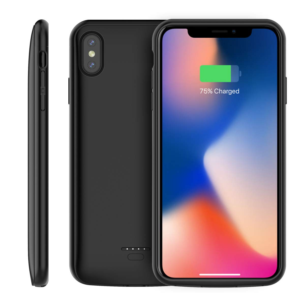 Moonmini Battery Case Compatible with iPhone Xs Max (2018) 6.5 inch, Ultra Slim External Battery Charger Case 5000mAh External Backup Charger Power Bank Protective Case(Black)
