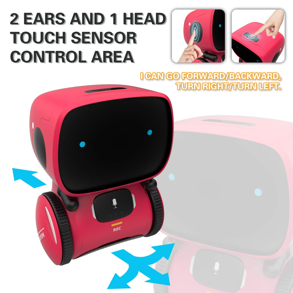 98K Kids Robot Toy, Smart Talking Robots, Gift for Boys and Girls Age 3+, Intelligent Partner and Teacher, with Voice Controlled and Touch Sensor, Singing, Dancing, Repeating by 98K (Image #2)