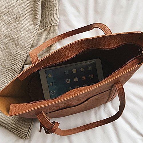 paquet sac Mode Cartes Sacs Épaule Femmes Sac Bandoulière Messenger À Bandoulieres Main sac Pompon A 4pcs Lhwy Marron En Cuir De Portés cqxRUWgpRw