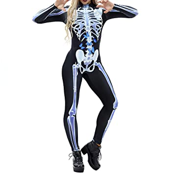 women halloween costumes ghost skeleton jumpsuit party tight slim fit cosplay costume black d
