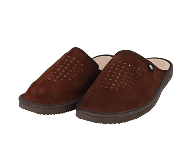 66cce58ea9 FOOTHUGS Mens Natural Suede Leather Slippers with Orthopedic Insole   Amazon.co.uk  Shoes   Bags