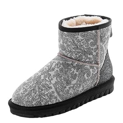 Women's Warm Embossing Thick Heel Short Snow Boots