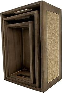 Darvish & Saints Rustic Wooden Nesting Crates [Set of 3] - Decorative Burlap, Farmhouse Gift Basket, Country Vintage, Planter, Storage Bin, Milk Caddy, Table Centerpiece, Distressed Crate Decor Brown