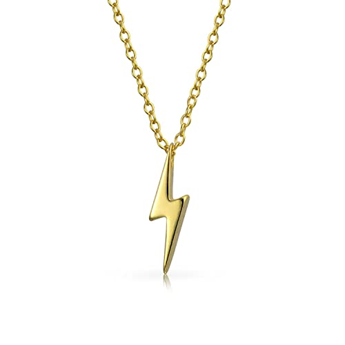 9a836429c86 Amazon.com: Small Lightning Bolt Modern Geometric Z Dangle Pendant Charm  Necklace For Women For Teen 14k Gold Plate Sterling Silver: Jewelry
