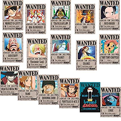 fba068c81af Bamboo's Grocery One Piece Wanted Posters 42cm√ó29cm New Edition Luffy 1.5  Billion Set of 16Pcs: Amazon.ca: Home & Kitchen