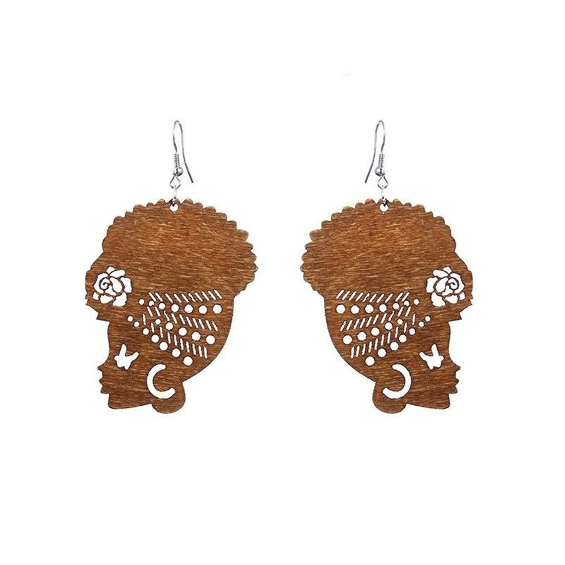 UINKE Fashion Ethnic African Head Dangle Hook Earrings Mexico Gypsy Earrings Women,Brown