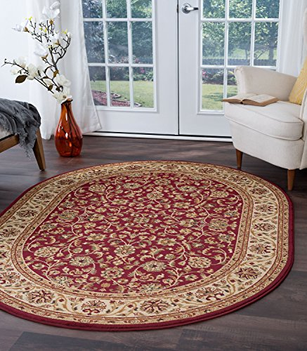 - Ventura Transitional Oriental Red Oval Area Rug, 5' x 7' Oval
