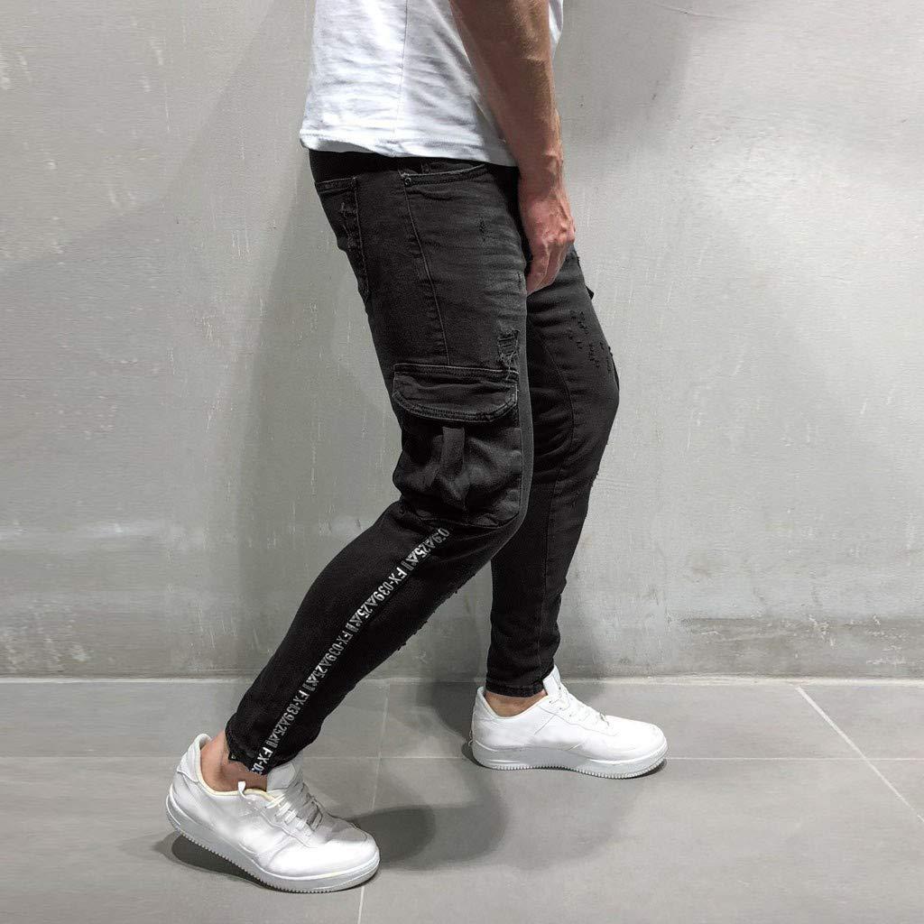 Sunyastor Men's Stretchy Ripped Skinny Biker Jeans Slim Fit Denim Pants Destroyed Hole Distressed Jeans with Pocket Black by Sunyastor men pants (Image #2)