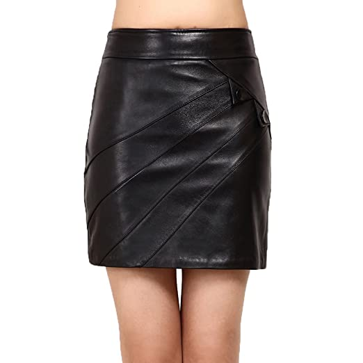 94f17abf8 Jiashibao Women Pure Sheep Leather Short Skirt Package Hip High Waist One  Pace Tight Skirt (