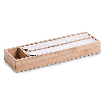 Zeller 25315 - Dispensador de papel de aluminio y de plástico de cocina (bambú y acero inoxidable, 39,5 x 13 x 5,4 cm): Amazon.es: Hogar