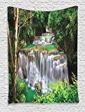 Ambesonne Waterfall Decor Collection, Stunning View of Waterfall in Kanjanaburi Stream Crossing Forest Image, Bedroom Living Kids Girls Boys Room Dorm Accessories Wall Hanging Tapestry, Green Brown