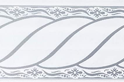 Dundee Deco Mgazbd5013 Peel And Stick Damask Grey White Scrolls Self Adhesive Wallpaper Border Roll 33 Ft X 2 In 10m X 5cm Amazon Co Uk Kitchen Home
