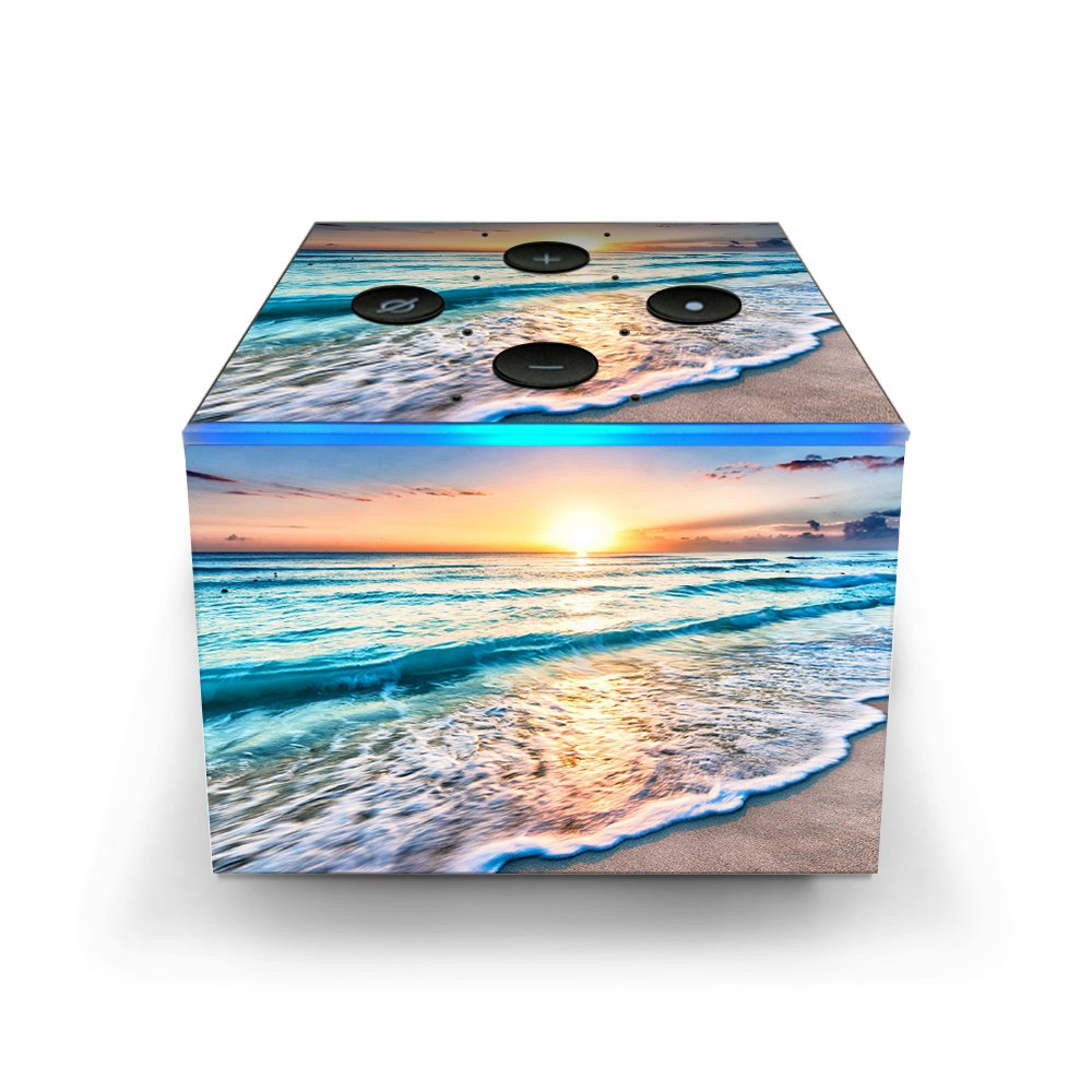 Skin Decal Vinyl Wrap for Amazon Fire TV Cube & Remote Alexa Stickers Skins Cover/Sunset on Beach It's A Skin