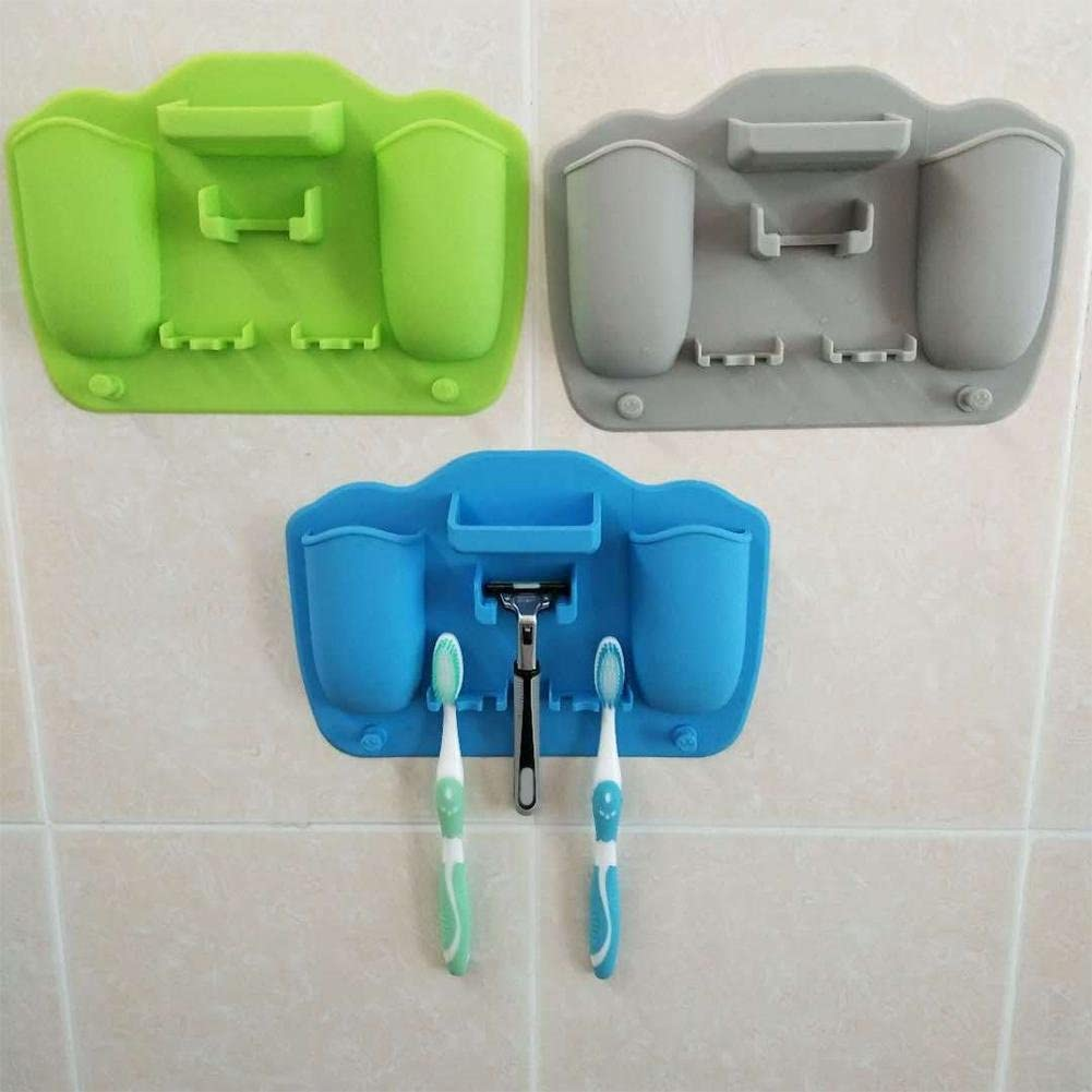 Bulary Silicone Bathroom Organizer Toothbrush Holder Silicone Toothpaste holder for bathroom Mirror shower