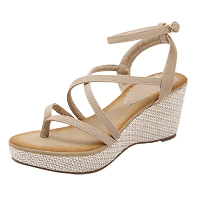 c2d55021f3 Amazon.com   Dear Time Summer Women Platform Wedges Heels Gladiator Sandals    Heeled Sandals