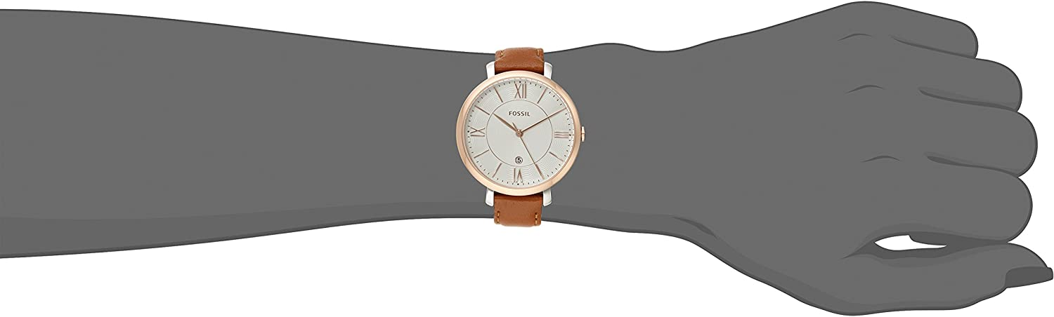 Fossil Women Jacqueline Stainless Steel and Leather Casual Quartz Watch Rose Gold, Cedar