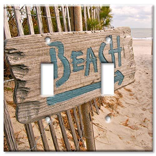 Art Plates 2 Gang Toggle Wall Plate - Beach this Way]()