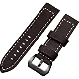 Genuine Leather Watch Band 20mm 22mm 24mm Bands Black Brown Replacement Watch Strap Bracelets Vintage Style for Men Women