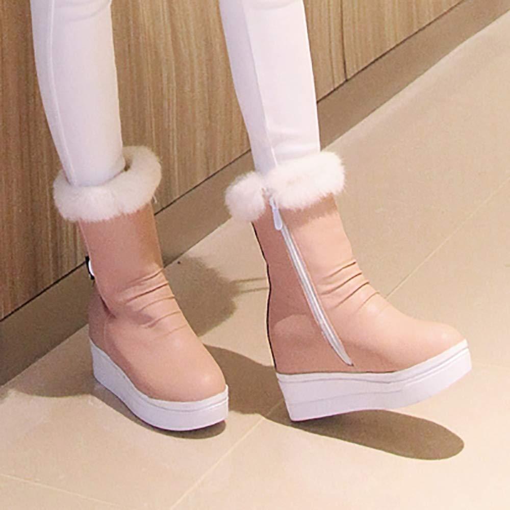 NIGHT CHERRY Women Casual Hidden Heel Snow Boots Zipper