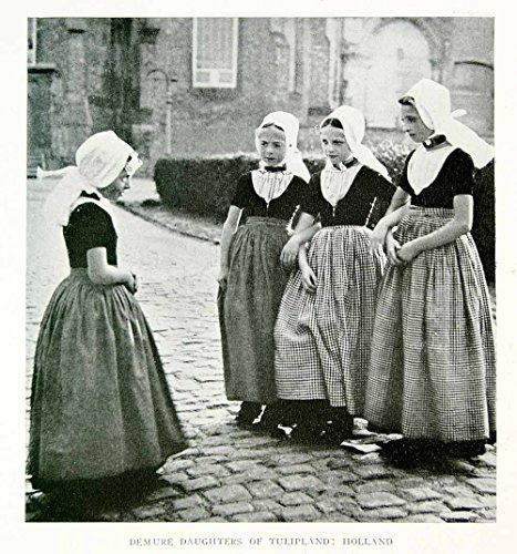 Holland Costumes Girl (1918 Print Holland Dutch Girls Costume Traditional Dress The Netherlands YNG3 - Original Halftone Print)
