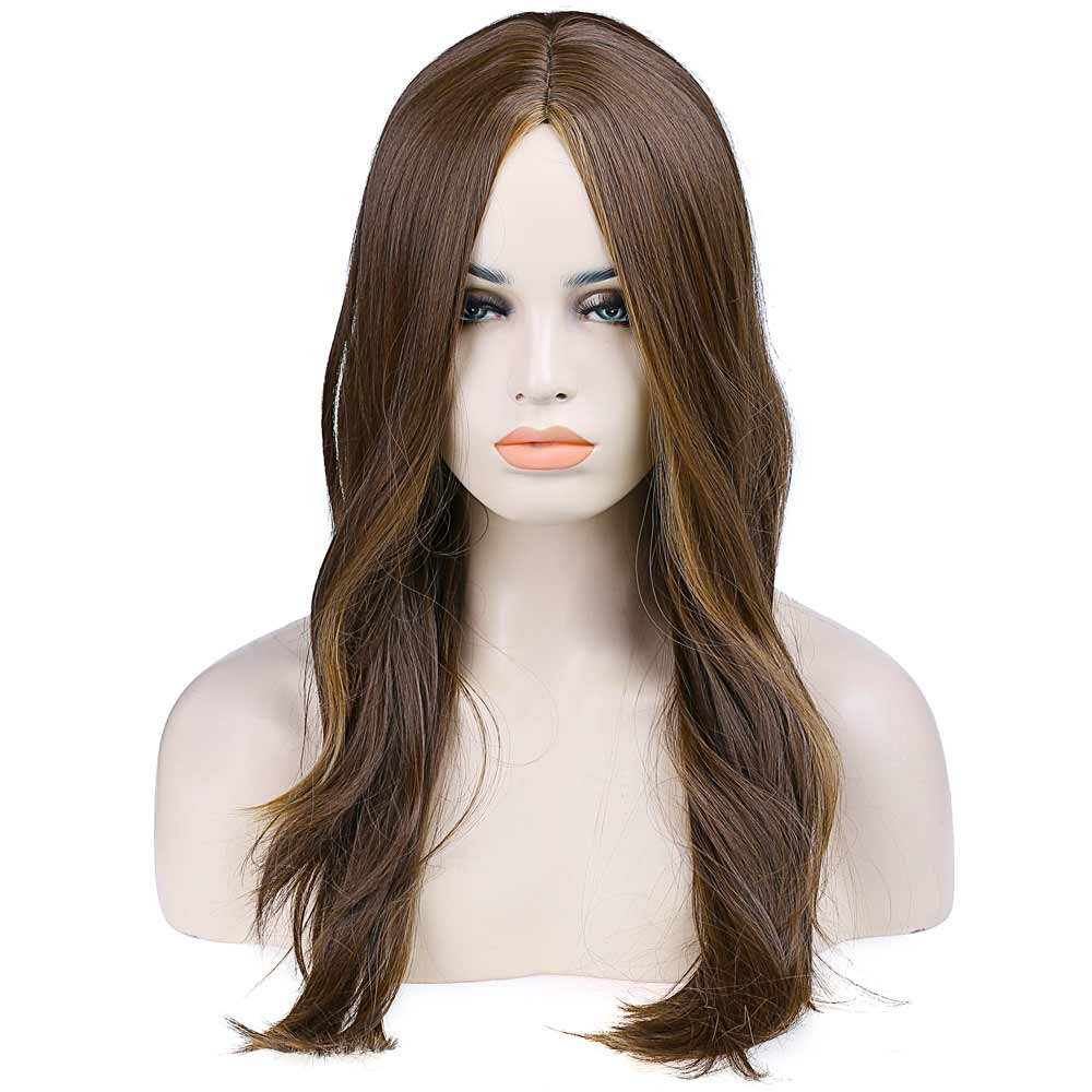 Wigs for Women Brown Highlighting Wig Synthetic Women\u0027s Wigs ...