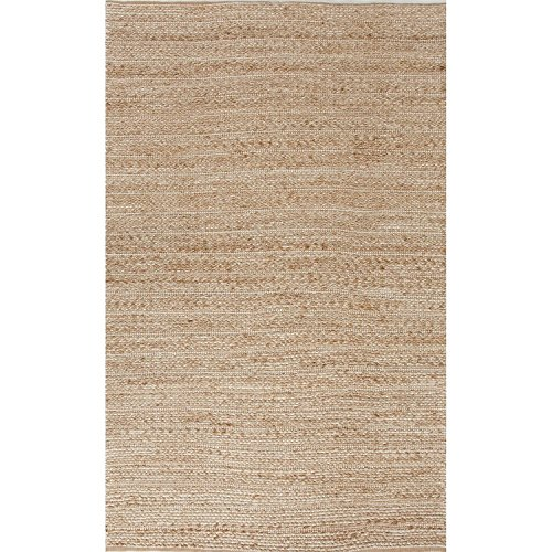 Diva At Home 2.5' x 4' Sandy Tan and White Naturals Clifton Hand Woven Area Throw Rug (Rugs Chenille Jute)