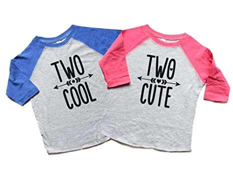 Twin Boy Or Girl Second Birthday Raglan Shirts Two Cool Cute Toddler Twins 2nd Bday