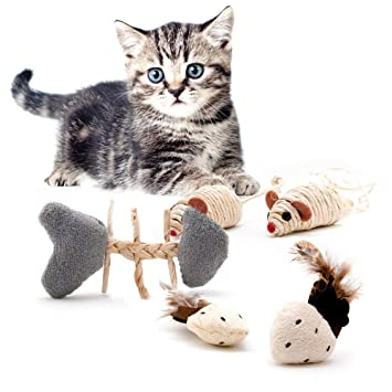 4yourpet Juego de 5 Juguetes para Gato Playfun Hechos de Materiales Naturales, ratón de sisal, Gato, bambú: Amazon.es: Productos para mascotas
