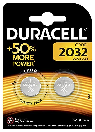 Duracell Specialty 2032 Lithium Coin Battery 3 V, Pack of 2 - silver