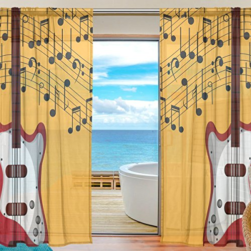 ALAZA Sheer Curtain Music Note Guitar Voile Tulle Window Cur