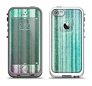 The Green and Purple Dyed Textile Apple iPhone 5-5s LifeProof Fre White Case and Skin Set (White LifeProof Case Included)