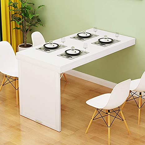 Amazon Com Horv Folding Dining Table Wall Mounted Fold Up Wall Table For Small Spaces Mdf Multi Function Home Office Desk Modern Simplicity Computer Desk Space Saving Home Kitchen