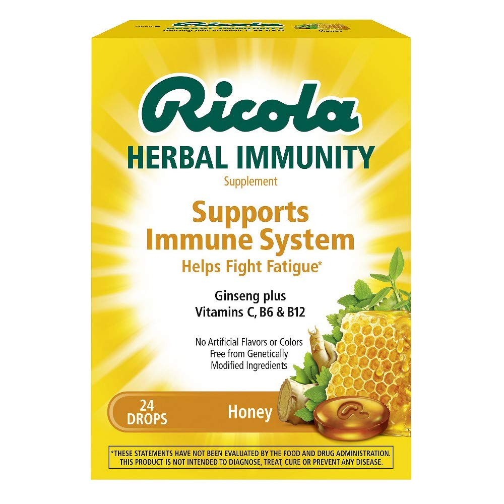 Ricola Herbal Immunity Supplement Drops Honey - 24 ct, Pack of 4 by Ricola