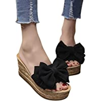 Sandals for Women THENLIAN Bow Wedges Flat-bottomed Slipper Open Toe Sandals Kitten Heels Solid Color Shoes(40, Black)