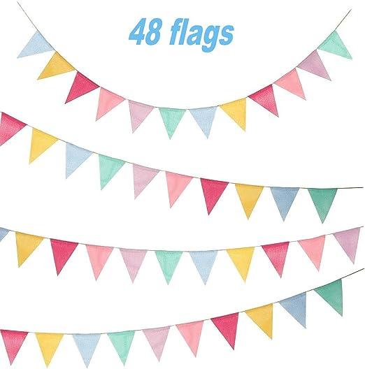 Cojoy 10M banderines, Banderas de tela de arpillera con 48 pcs Banderas de triángulos Banderas de banderín multicolor para cumpleaños, Boda, Hogar, Fiesta de bienvenida al bebé Decoración: Amazon.es: Jardín