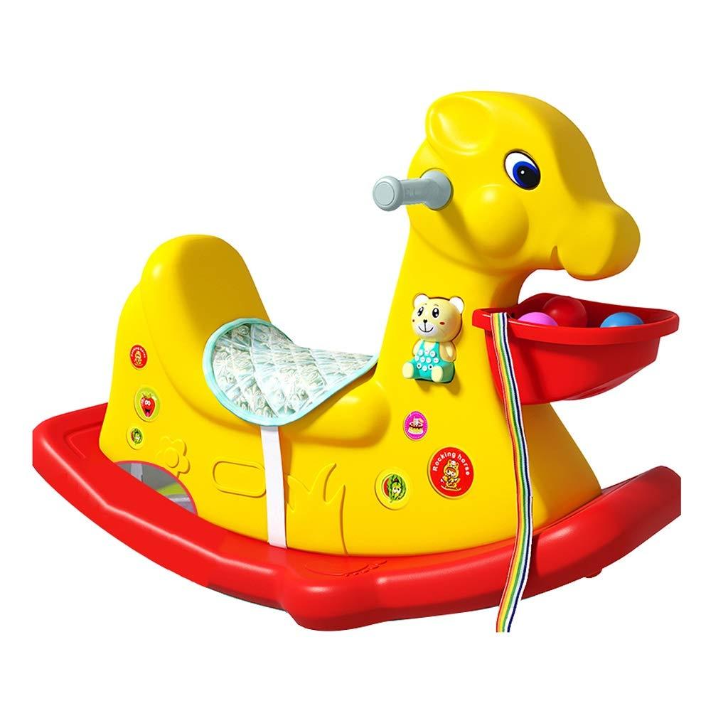 Cavalli a dondolo FJH Scuotere Il Cavallo del Cavallo Giocattolo del Bambino Bambini Musica di plastica 1-3 Anni di età Regalo Ispessimento Sedia a Dondolo Car