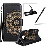 Rope Leather Case for Samsung Galaxy S6,Strap Wallet Case for Samsung Galaxy S6,Herzzer Bookstyle Classic Elegant Mandala Flower Pattern Stand Magnetic Smart Leather Case with Soft Inner for Samsung Galaxy S6 + 1 x Free Black Cellphone Kickstand + 1 x Free Black Stylus Pen - Black