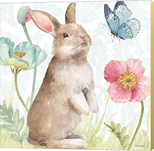 Bunny Canvas Art - Spring Softies Bunnies II by Lisa Audit Canvas Art Wall Picture, Museum Wrapped with Strawflower Sides, 12 x 12 inches