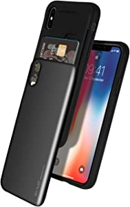 iPhone Xs Case, iPhone X Case [Sliding Card Holder] GOOSPERY Protective Dual Layer Bumper [TPU+PC] Cover with Card Slot Wallet for Apple iPhone Xs/X (Black) IPX-Sky-BLK