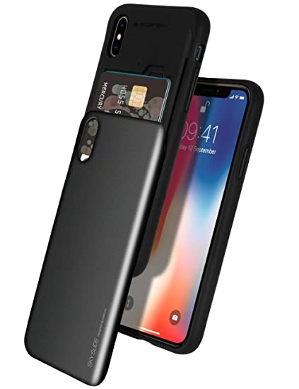 the best attitude c2420 9751a iPhone Xs Case, iPhone X Case [Sliding Card Holder] GOOSPERY Protective  Dual Layer Bumper [TPU+PC] Cover with Card Slot Wallet for Apple iPhone  Xs/X ...