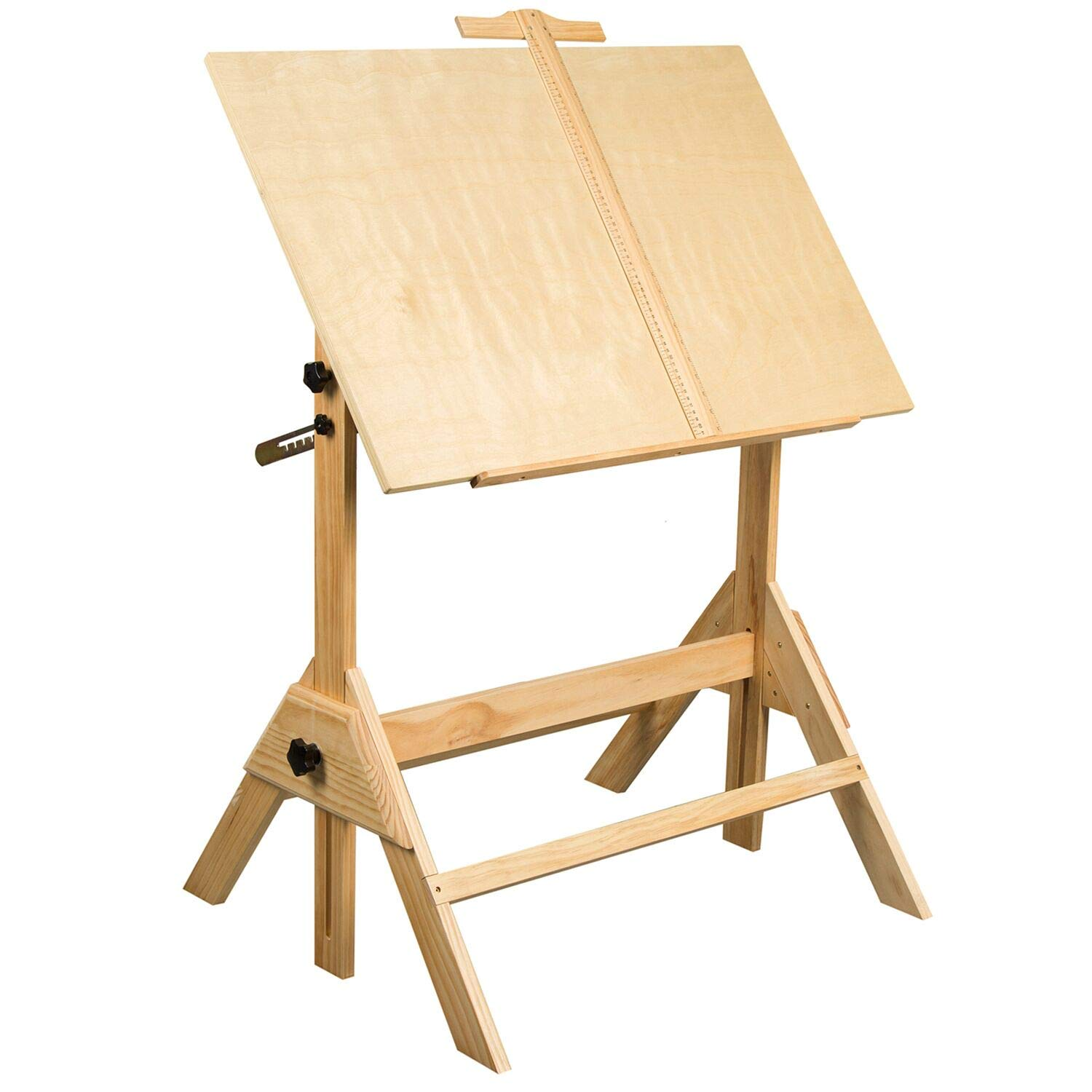 Wood Drafting Table by MEEDEN - Height Adjustable Drawing Desk with Tiltable Tabletop for Artwork, Graphic Design, Reading and Writing, 36in