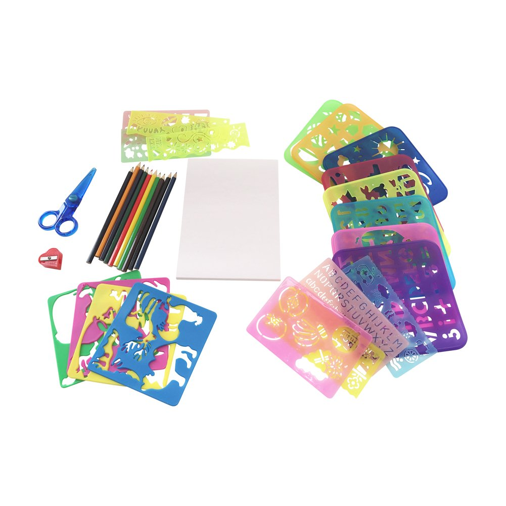 34 pcs Stencil Set for Kids - Includes 20 Stencils, 10 color pencils, 50 sheets A5 paper, craft scissors, sharpener in practical carry bag EAST-WEST Trading GmbH