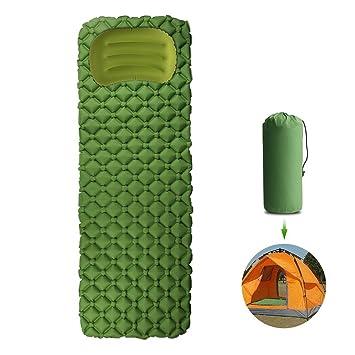 Ultra ligero hinchable colchoneta de camping aislante ultraligera Mat Colchoneta con almohada, colchón de aire
