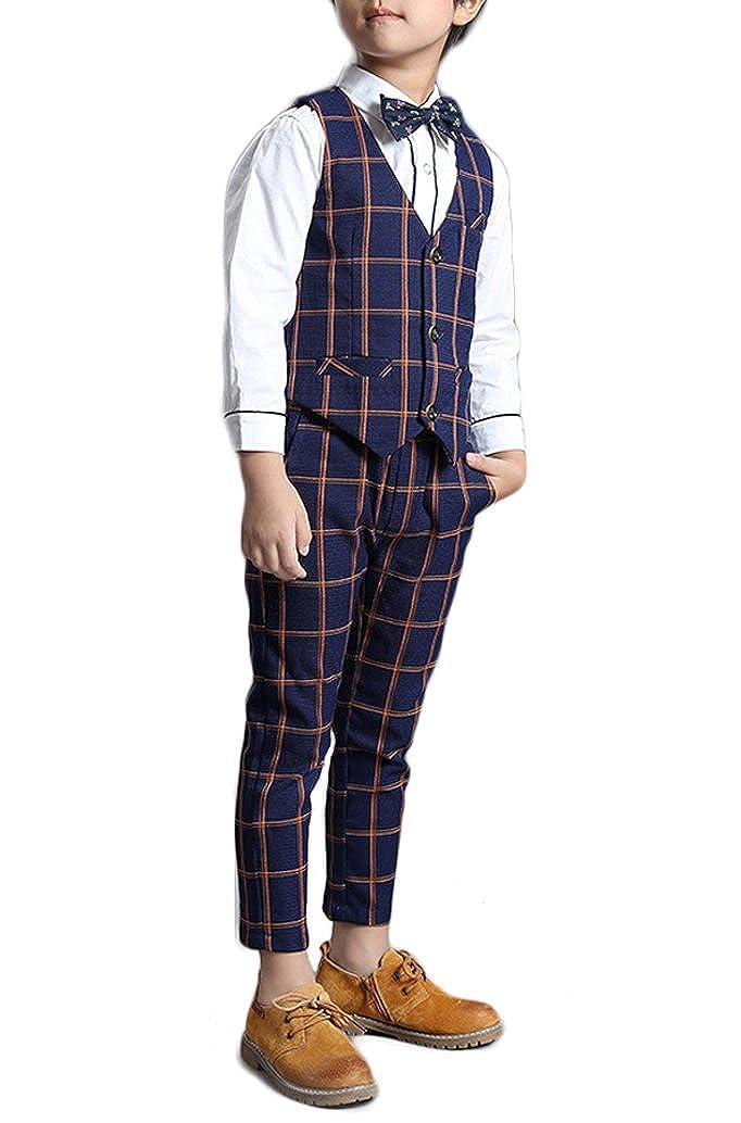 Boys Navy Blue Suit Set with Orange Grid 3 Pieces Jacket Vest and Pants Set