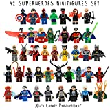 Kid's Corner Productions® 42 Superheroes Minifigures Set   Collection Set of 42 Characters   The Most Famous Superheroes of Marvel and DC Comics with Tools, Helmet and Stand   Batman, Thor, Hulk, Captain America and many more (42 pieces)