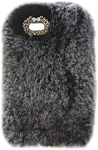 iPod Nano 7 Case,Super Deluxe Luxury Faux Rabbit Fur Fuzzy Plush Beaver Rex Rabbit Hair Fur Case for Apple iPod Nano 7th & 8th Generation (Bowknot Gray)