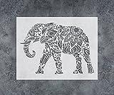 GSS Designs Elephant Wall Decor Stencil - Mandala Elephant Stencil (12x16 Inch) Laser Cut Painting Stencil - Floor Wall Tile Fabric Wood Stencils -Reusable Template for Wall Decals Transfer(SL-021)
