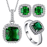 UFOORO Women Creative CZ Jewelry Set for Wedding Gift Crystal Necklace Earring Ring in A Set Green Available